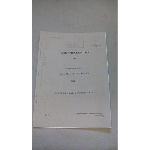 CHARGING SETS ED 300 WATT 15V BSA IDENTIFICATION LIST